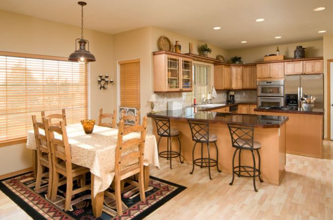 The combination kitchen and dining room