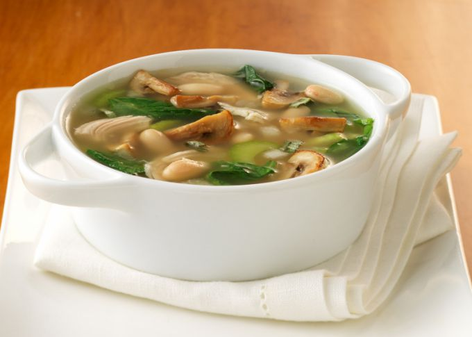 Mushroom soup with dumplings