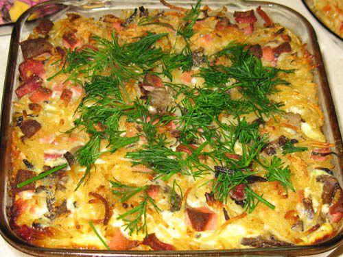 Casserole of pasta and zucchini