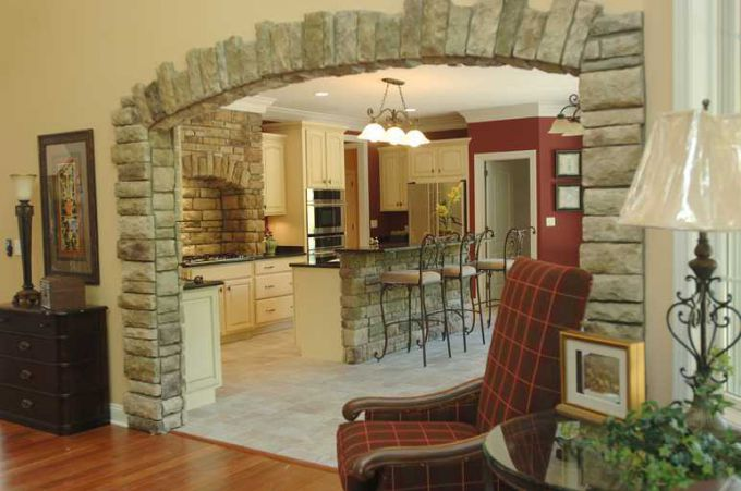 Apartment interior with natural and decorative stone