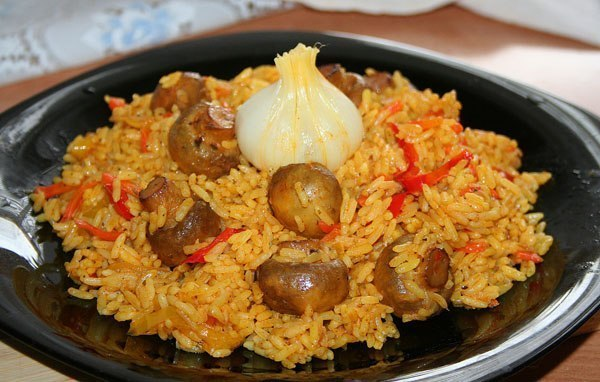 Pilaf with meat and mushrooms