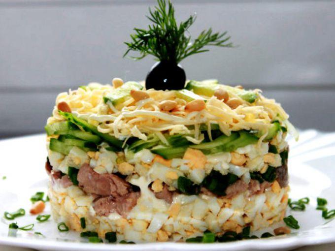 Салат из печени куриной рецепт с слоями