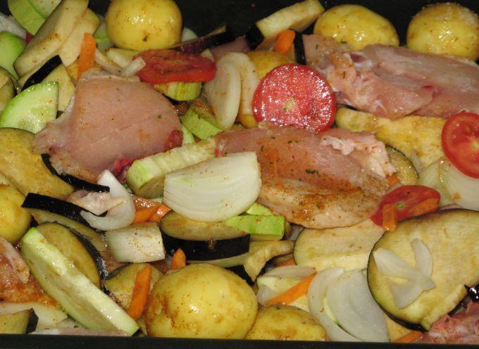 Все овощи сложить в форму