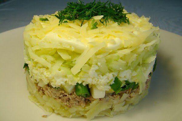 Салат из консервы рыбной с рисом слоями рецепт с