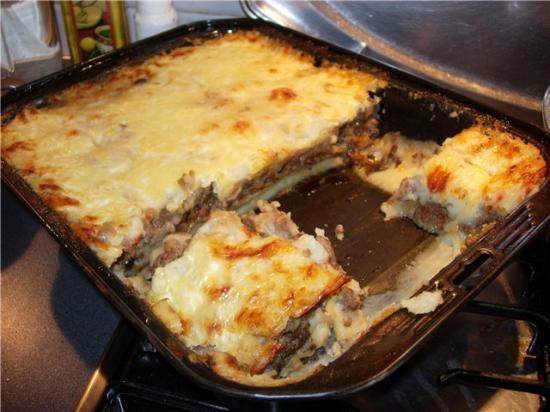 Запеканка с фаршем грибами и сыром в духовке рецепт с пошагово в