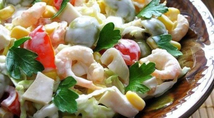 Готовим салаты с креветками