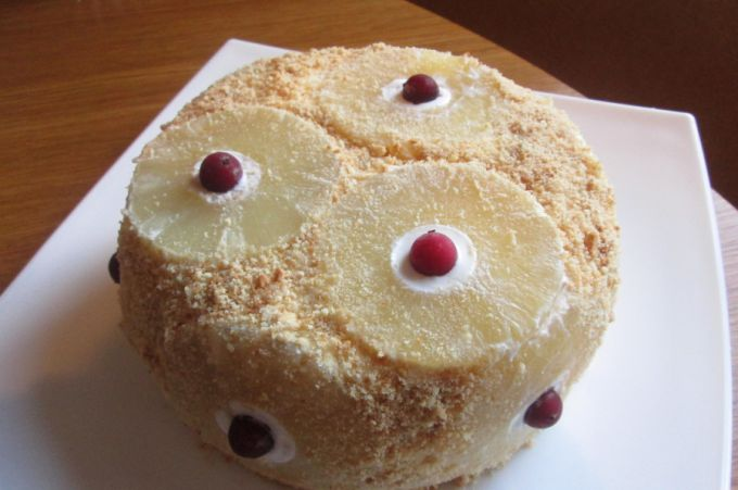Ананасовый торт без выпечки