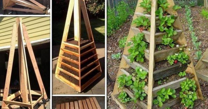 вертикальные грядки для клубники из дерева