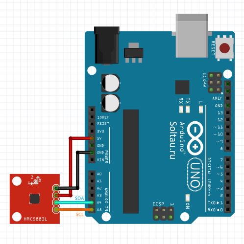 Подключение цифрового компаса HMC5883 к Arduino