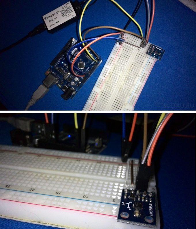 Цифровой компас HMC5883 подключён к Arduino на макетной плате