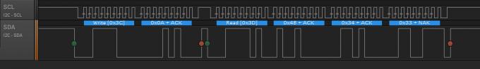 Временная диаграмма обмена по I2C с цифровым компасом HMC5883