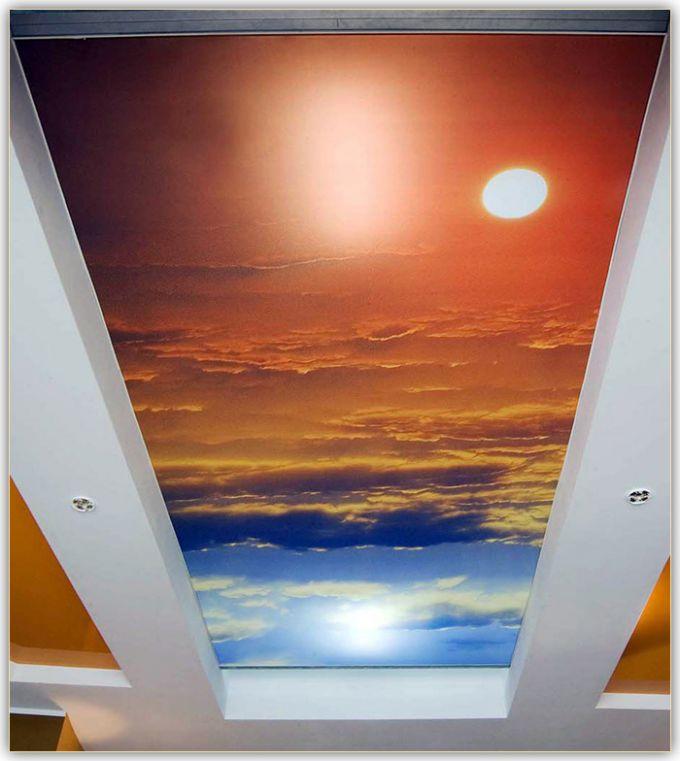 Тканевый натяжной потолок с изображением небесной тематики
