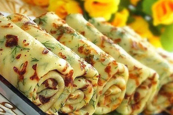 Как приготовить сырные блинчики с зеленью