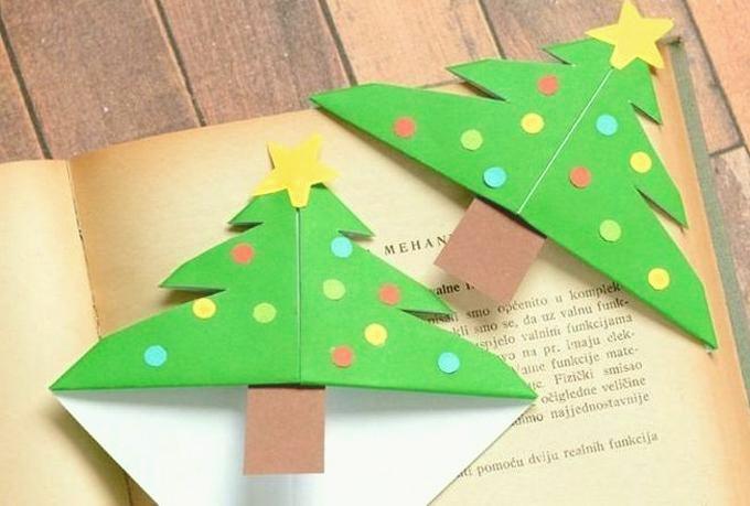 Как просто сделать закладку в форме новогодней елочки своими руками