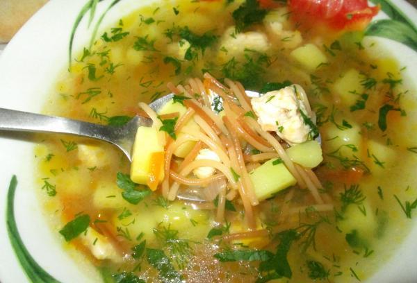 Суп с фрикадельками и вермишелью полезно и вкусно