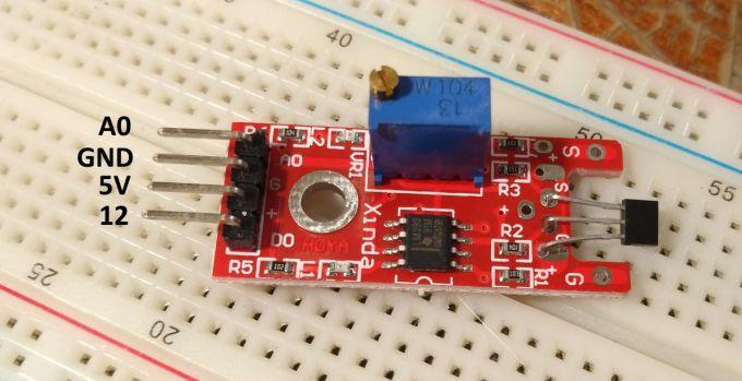 Схема подключения датчика Холла к Arduino