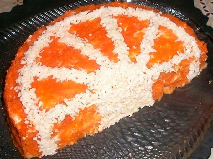 Салат долька апельсина пошаговый с