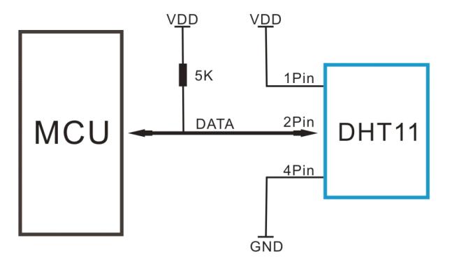 Схема подключения датчика DHT11 к микроконтроллеру