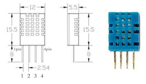 Внешний вид и размеры датчика DHT11