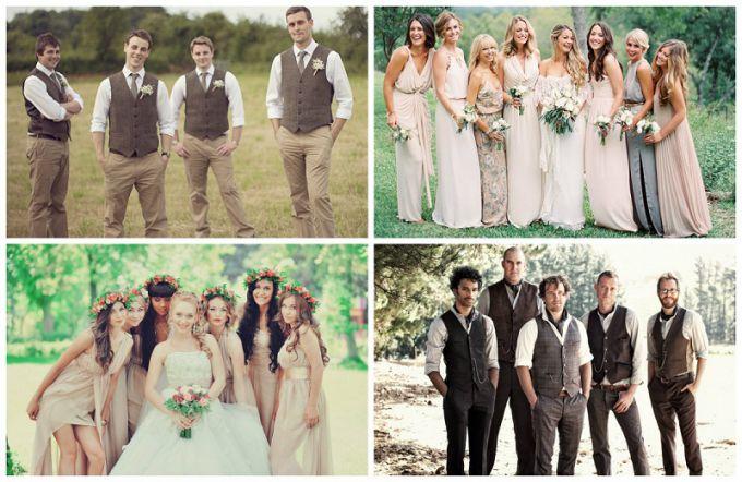Свадьба в стиле рустик - наряды