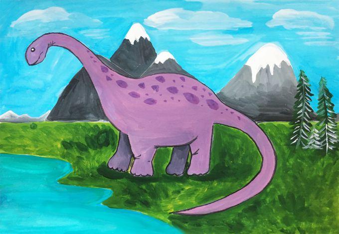 динозавр гуашью