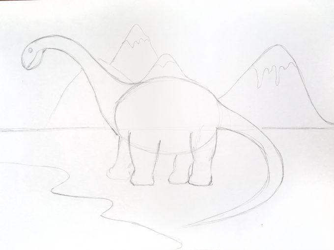 набросок динозавра