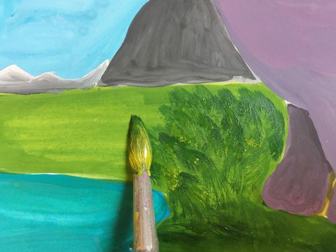 рисуем траву гуашью