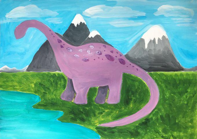 рисуем пятнышки на динозавре