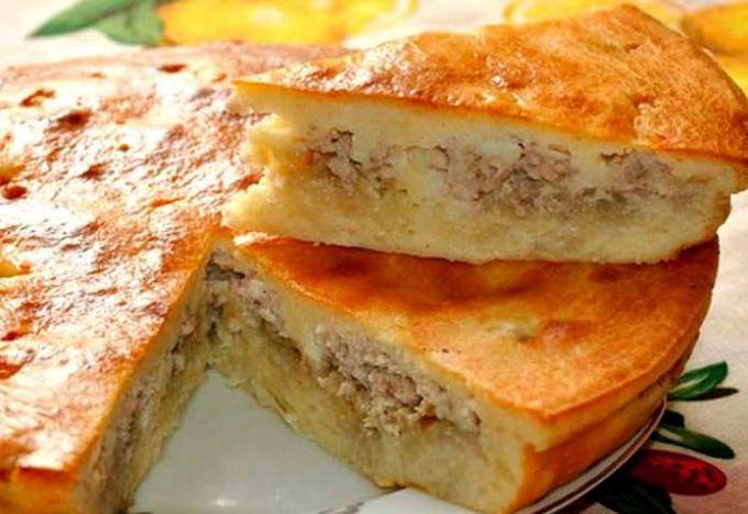 Мясной пирог с картошкой на кефире