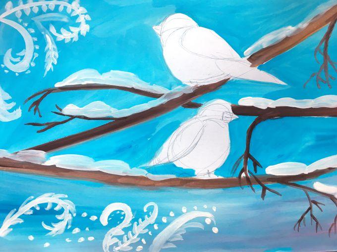 рисуем снег на ветках