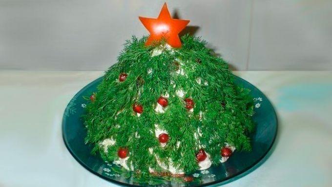 Новогодний салат в виде елочки
