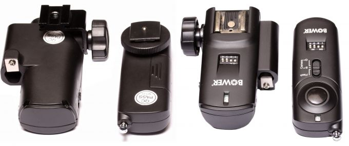 Пускатель с клеммой для системной фотовспышки имеет кнопку для ручного спуска и выдвижную антенну.Приемник у данного производителя - с отверстием под фото зонт. Вид пары снизу и сверху.