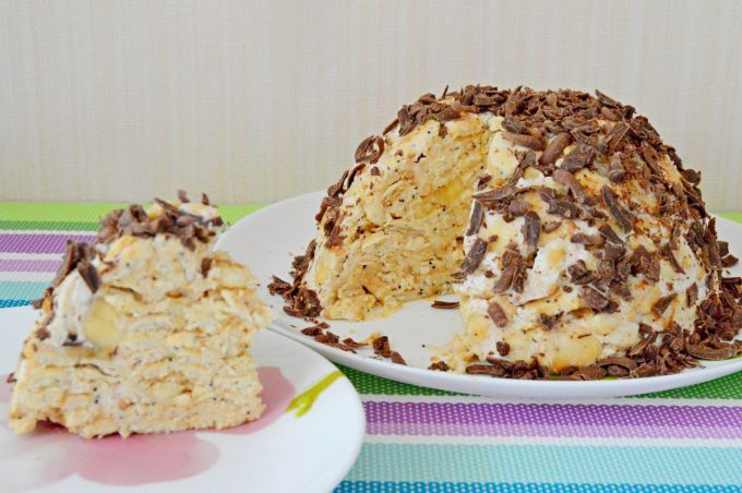 Торт из крекеров «рыбки» и сметаны без выпечки: пошаговый рецепт с фото