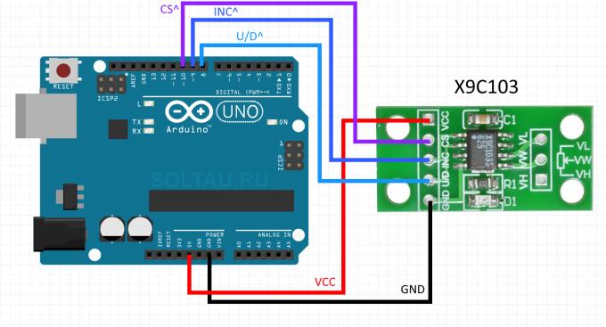 Схема подключения цифрового потенциометра X9C к Arduino