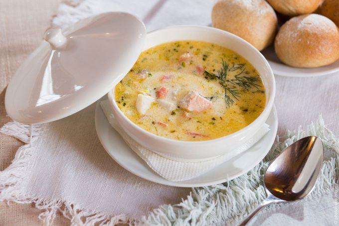 Как приготовить суп с семгой и креветками в микроволновке