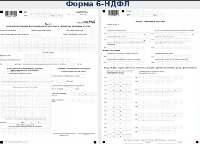 Инструкция по заполнению формы 6-НДФЛ