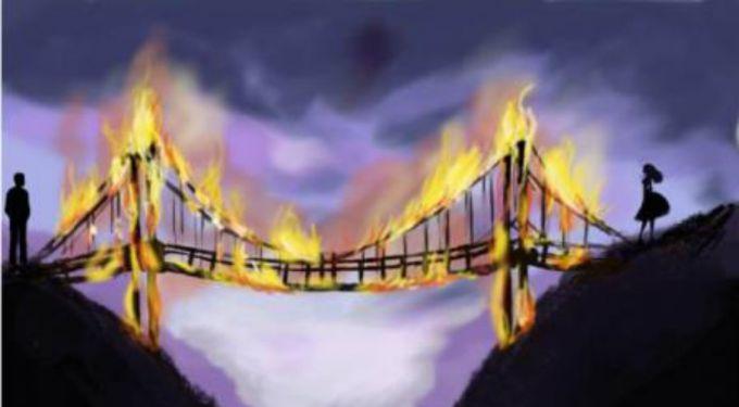 Рисунок с горящим мостом