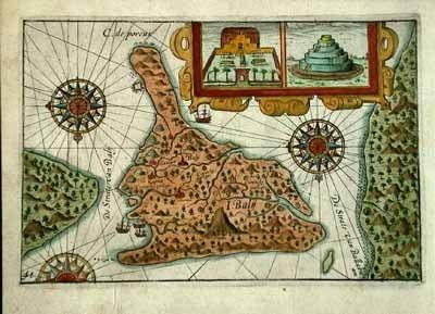 старинная карта, север внизу