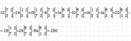 Разложение до миноров второго порядка и вычисление определителя матрицы