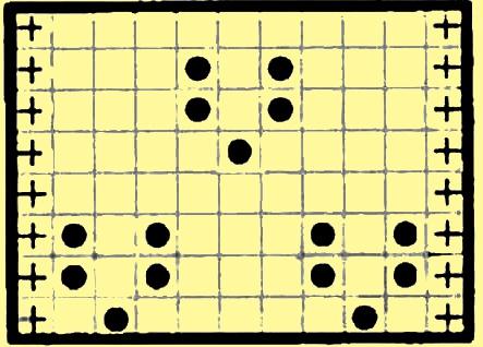 Схема, где лицевая обозначена пустой клеточкой