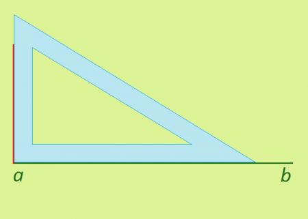 построение второй стороны <strong>прямоугольник</strong>а (обозначена красным цветом)