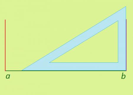построение третьей стороны <strong>прямоугольник</strong>а (обозначена фиолетовым цветом)